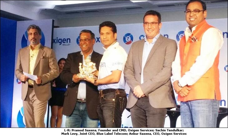 L-R: Pramod Saxena, Founder and CMD, Oxigen Services; Sachin Tendulkar; Mark Levy, Joint CEO, Blue Label Telecom; Ankur Saxena, CEO, Oxigen Services