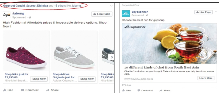 Spot the difference -  the advertising options that Facebook throws up