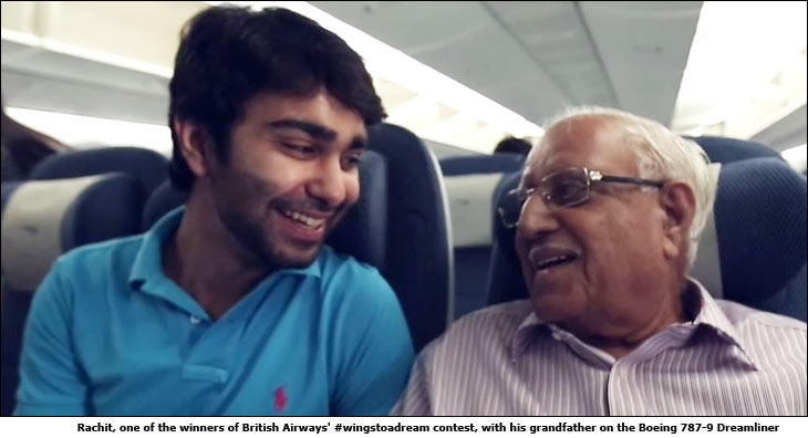 Rachit, one of the winners of British Airways' #wingstoadream contest, with his grandfather on the Boeing 787-9 Dreamliner