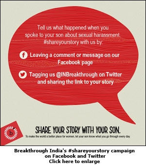 Breakthrough India's #shareyourstory campaign on Facebook and Twitter