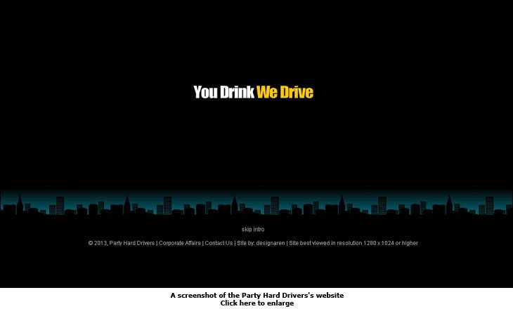 A screenshot of the Party Hard Drivers's website