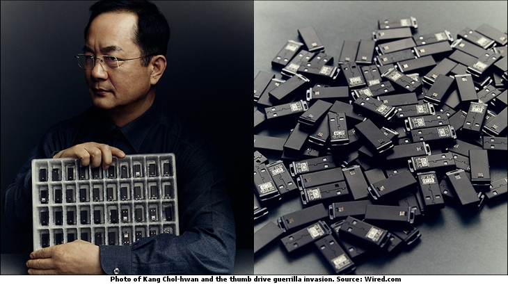 Photo of Kang Chol-hwan and the thumb drive guerrilla invasion. Source: Wired.com