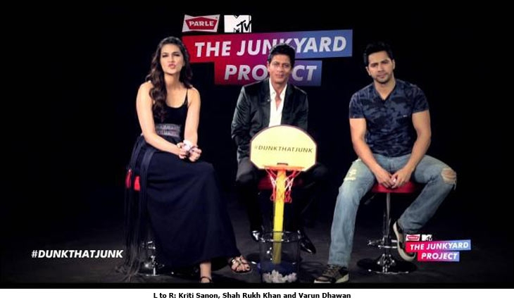 L to R: Kriti Sanon, Shah Rukh Khan and Varun Dhawan