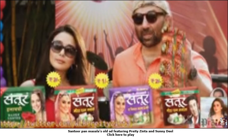 Santoor pan masala's old ad featuring Preity Zinta and Sunny Deol