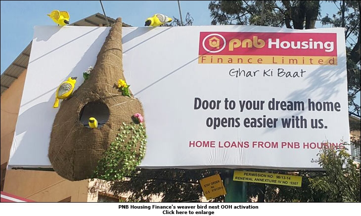 PNB Housing Finance's weaver bird nest OOH activation