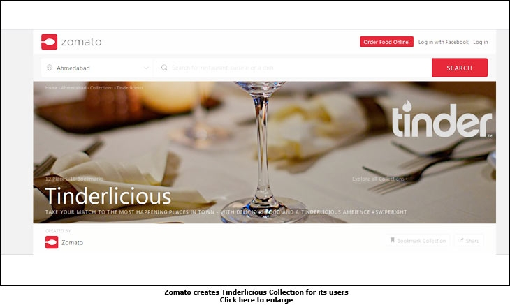 Zomato creates Tinderlecious Collection for its users