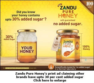Zandu Pure Honey's print ad claiming other brands have upto 30 per cent added sugar