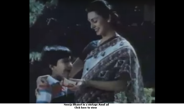 Neerja Bhanot in a vintage Amul ad
