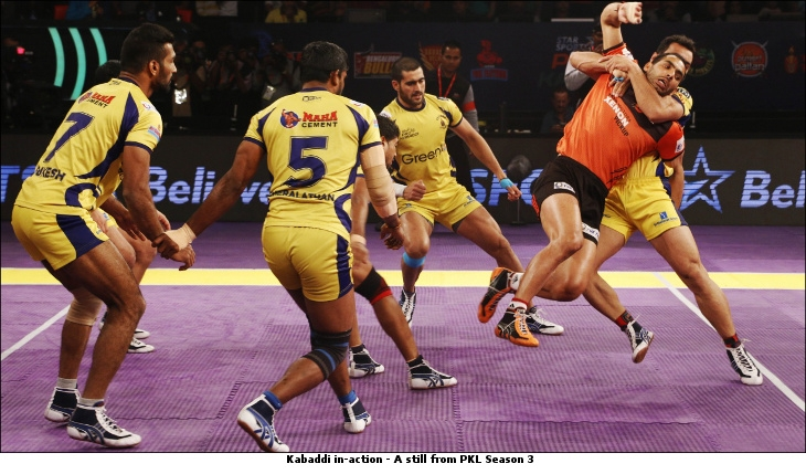 Kabaddi in action still from PKLSeason3