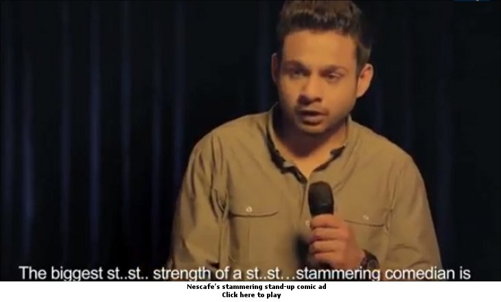 Nescafe's stammering stand up comic ad