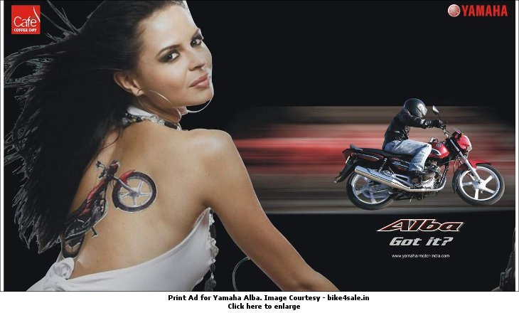 Print ad for Yamaha Alba objectifying women. Image Courtesy - bikes4sale.in