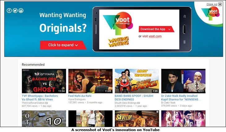 A screenshot of Voot's innovation on YouTube