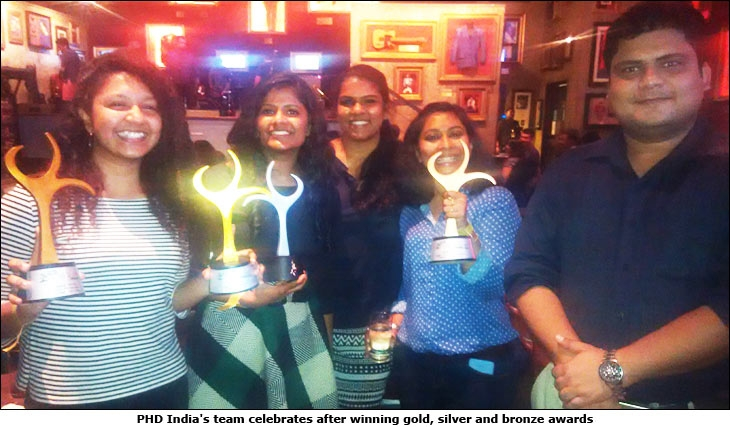 PHD India's team celebrates after winning gold, silver and bronze awards