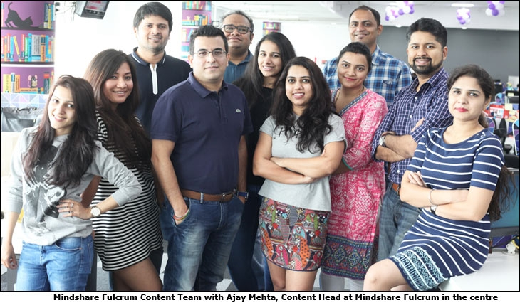 Mindshare Fulcrum Content Team with Ajay Mehta, Content Head at Mindshare Fulcrum in the centre