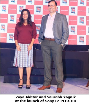 Zoya Akhtar and Saurabh Yagnik at the launch of Sony Le PLEX HD