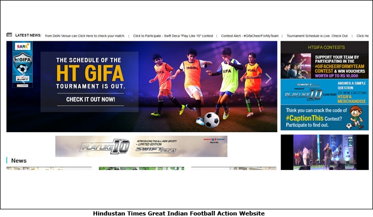 Hindustan Times Great Indian Football Action Website