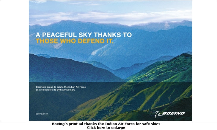Boeing's print ad thanks the Indian Air Force for safe skies