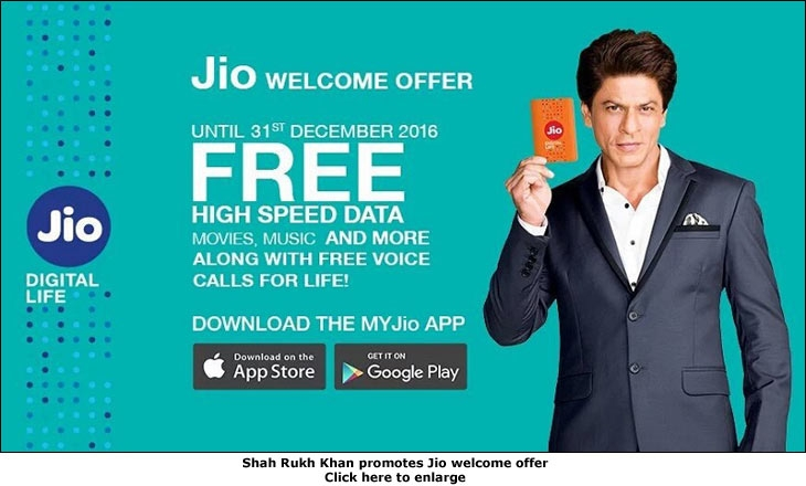 Shah Rukh Khan promotes Jio welcome offer