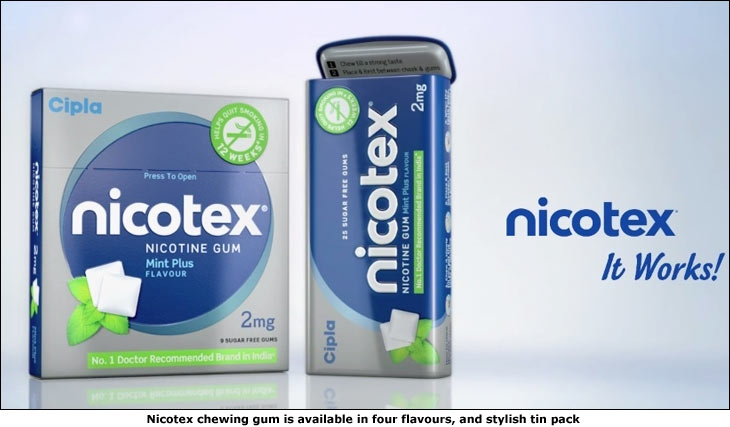 Nicotex chewing gum is available in four flavours, and stylish tin pack