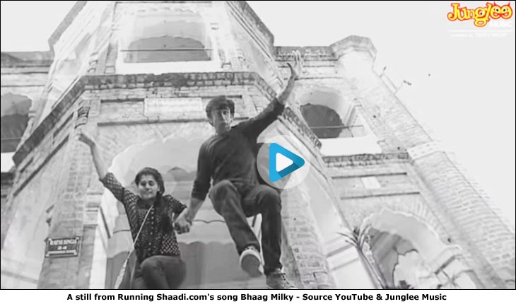 A still from Running Shaadi.com's song Bhaag Milky - Source YouTube & Junglee Music