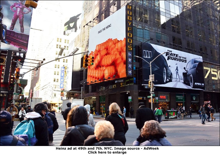 Heinz ad at 49th and 7th. NYC. Image source - AdWeek