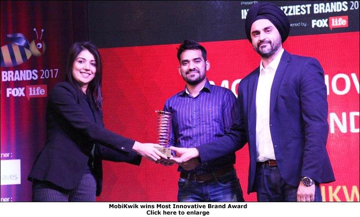 India's Buzziest Brands 2017 (MobiKwik wins Most Innovative Brand Award)