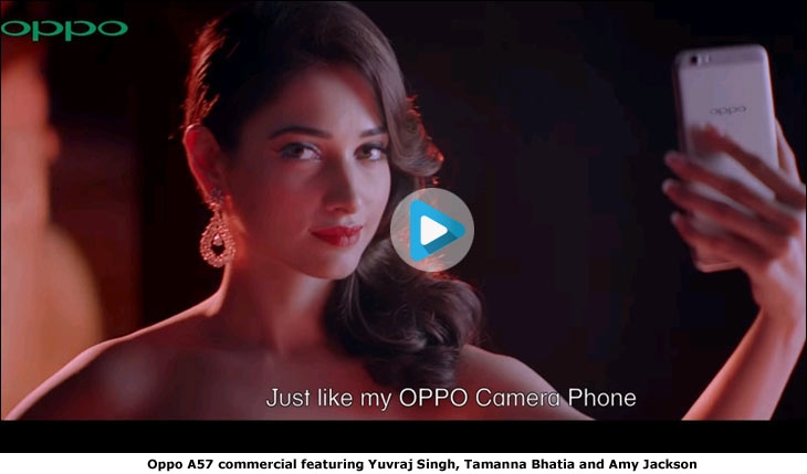 Oppo A57 commercial featuring Yuvraj Singh, Tamanna Bhatia and Amy Jackson