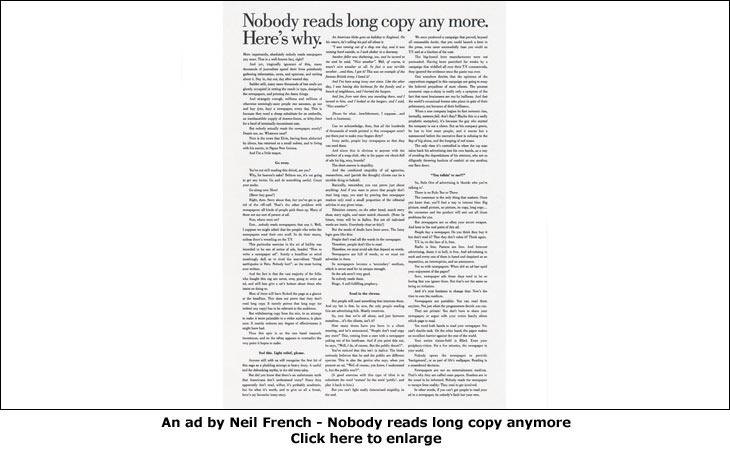 An ad by Neil French - Nobody reads long copy anymore