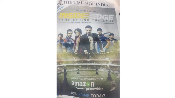 Amazon Prime's marketing initiative, a front page ad on TOI