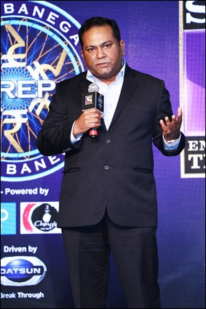 Danish Khan, EVP and business head, Sony, at the press conference of Kaun Banega Crorepati 9