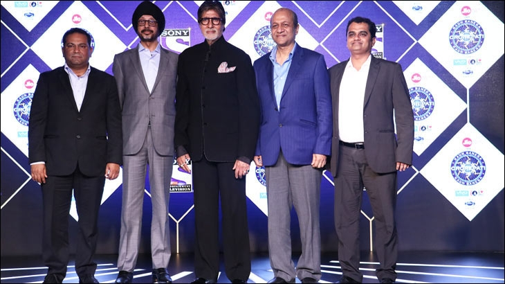 From L-R - Danish Khan,  NP Singh,  Amitabh Bachchan, Siddhartha Basu and Ashish Golwalkar at the press conference of Kaun Banega Crorepati 9 in Mumbai