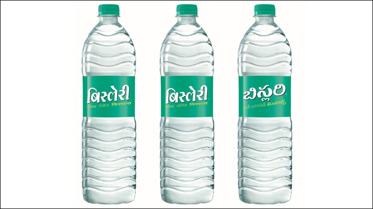 Packshot of Bisleri's 1 ltr bottle with labels in Hindi, Marathi and Telugu language