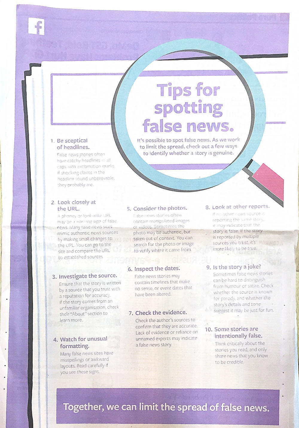 Facebook gives 10 tips to spot fake news in latest print campaign