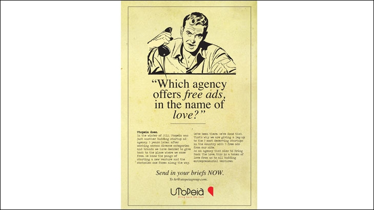 Utopeia's digital ad inviting start-ups to send their brief for a free ad