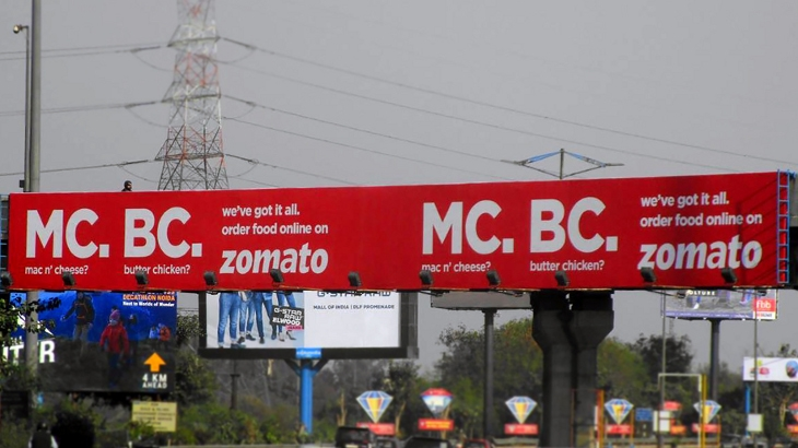 Zomato's outdoor ad - MC. BC. which was discontinued after receiving negative comments on social media