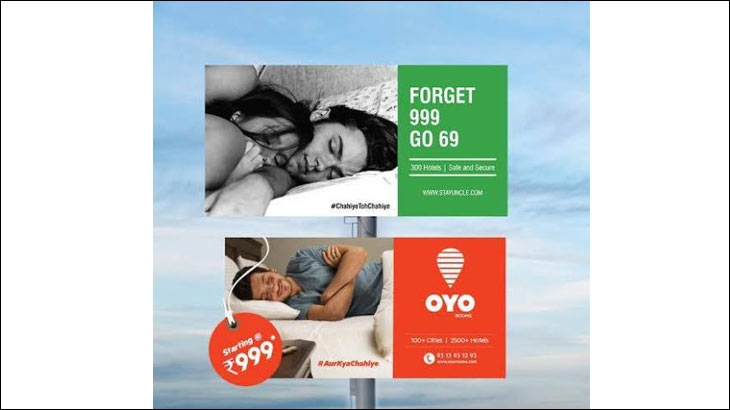 Ambush marketing by StayUncle that directly attacks rival brand OYO Rooms. These posters are being used on StayUncle's social media platforms