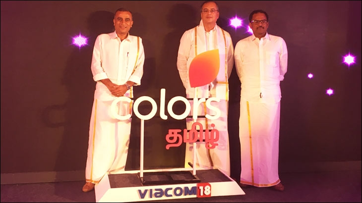 (L- R) Sudhanshu Vats, Group CEO, Viacom18; Ravish Kumar, Head, Regional Entertainment, Viacom18 and Anup Chandrasekharan, Business Head, Colors Tamil, unveiling the logo of Colors Tamil