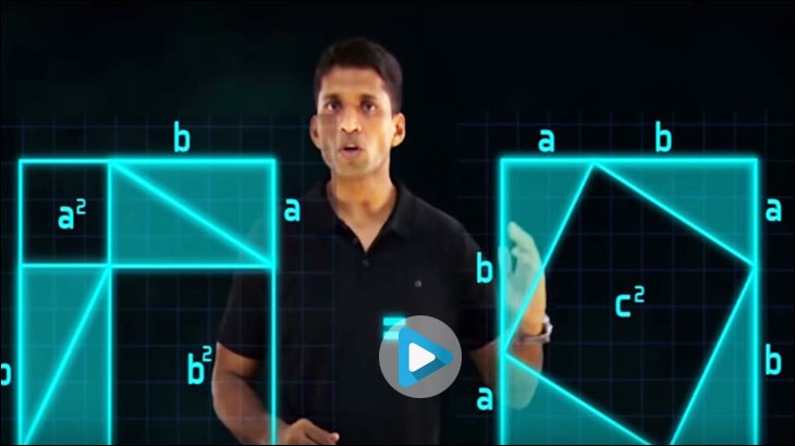 Byju's released 40-second-long videos, featuring Raveendran (founder, Byju's) explaining the 'Pythagoras Theorem' in order to create blanket awareness for the app
