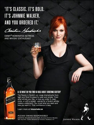 Actor Christina Hendricks of Mad Men fame in a 2013 ad campaign for Johnnie Walker