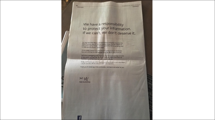 Facebook's founder Mark Zuckerberg apologises to users in a print ad released across USA and UK