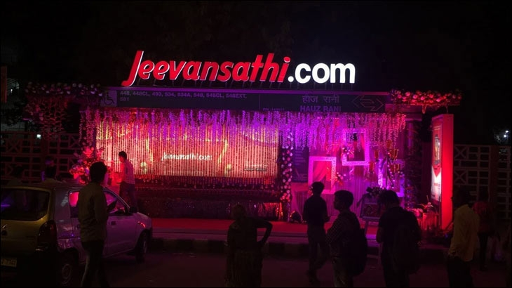 The marquee mandap was set up at Hauz Rani Bus Shelter at Saket area