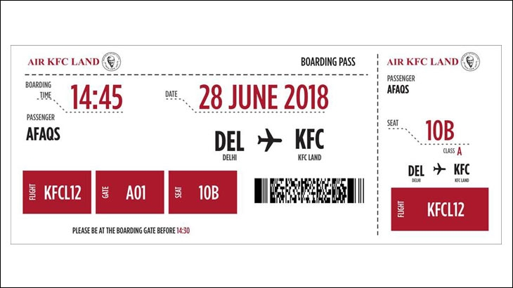 Boarding pass for your flight to KFC Land
