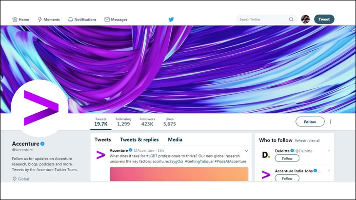 Screenshot of Accenture's Twitter page