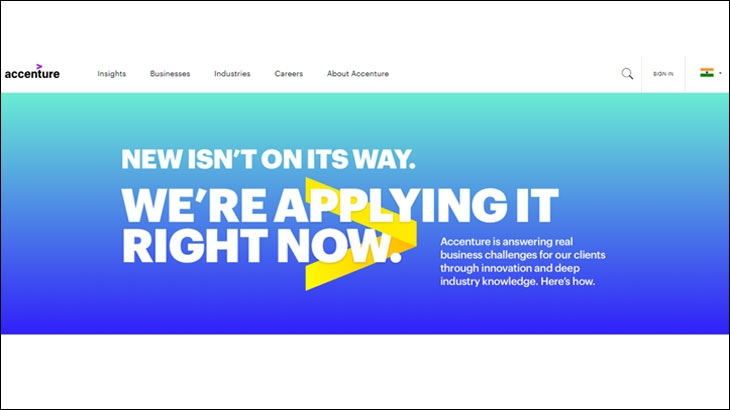Screenshot of Accenture's website