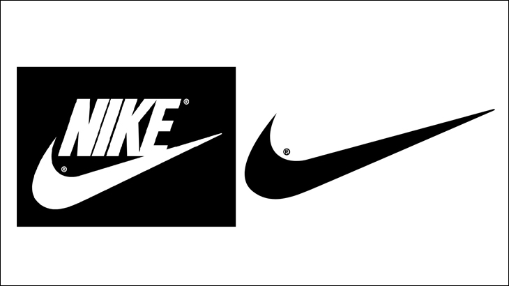 Nike's newest logo on the right