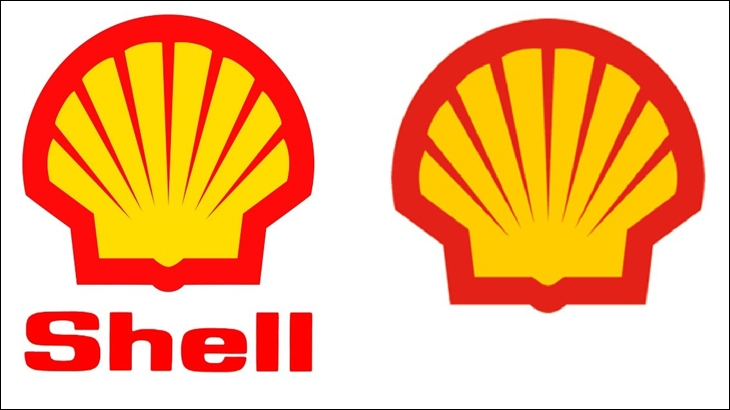 Shell's logo from 1995 and 1999