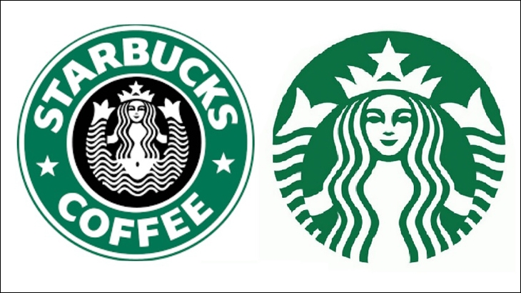 Starbucks' logo from 1992 and 2011