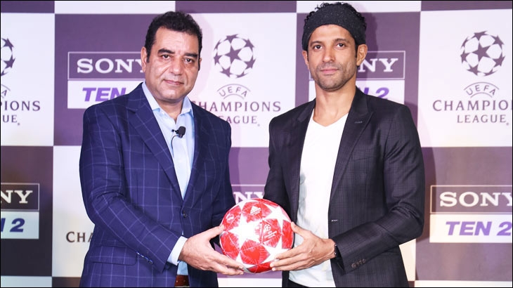 Bollywood celebrity Farhan Akhtar (right) to watch the UEFA Champions League Finals in Spain in June, pictured with Rajesh Kaul, Chief Revenue Officer - Distribution and Head - Sports Business, Sony Pictures Networks India