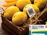 A box full of mangoes in a glucometer ad