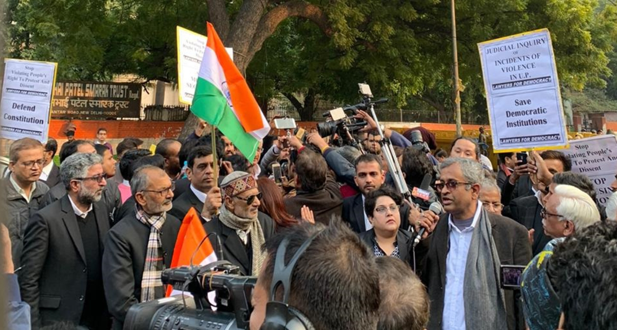 Senior Advocate Sanjay Hegde (towards right) seen speaking at the demonstration